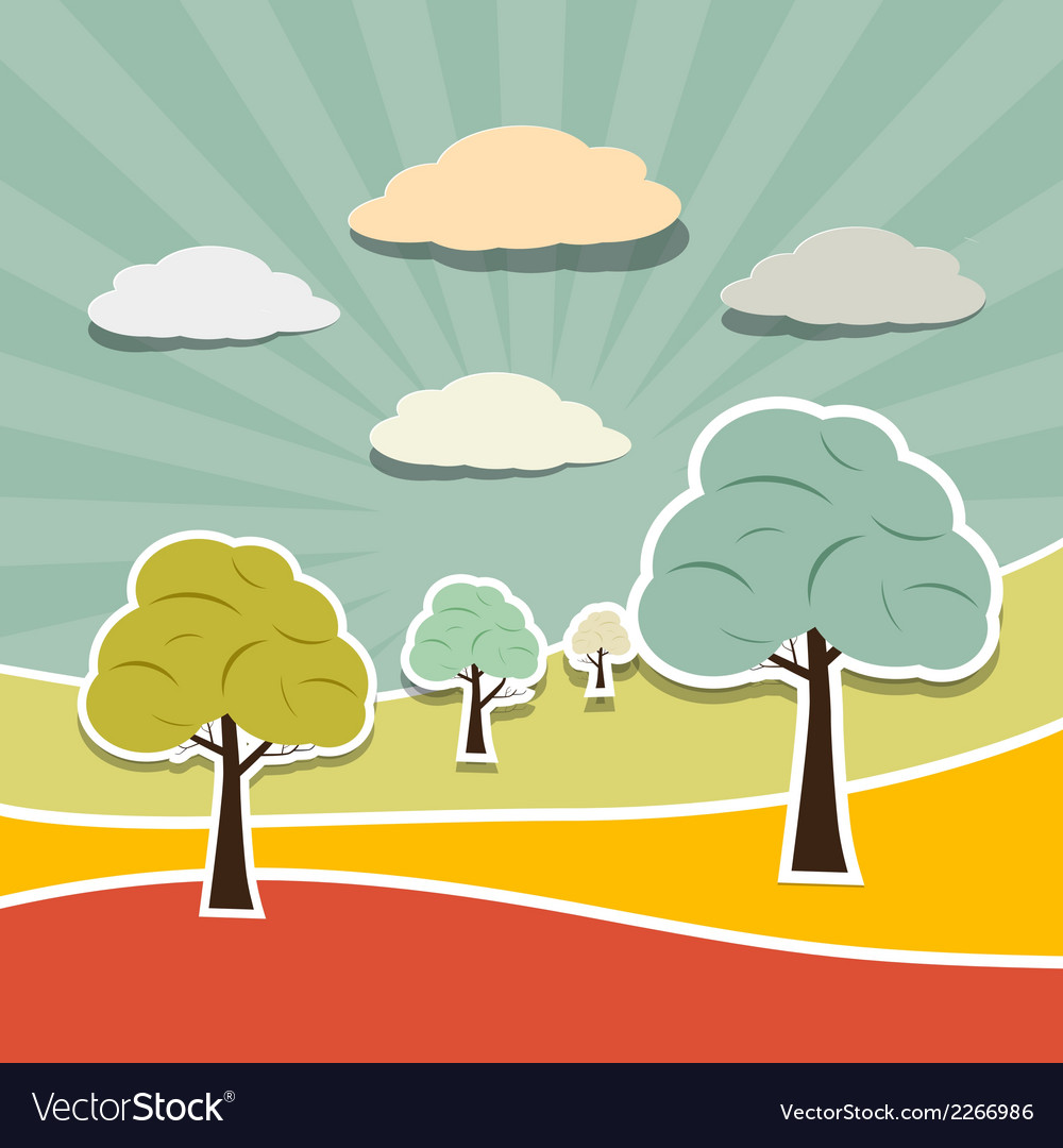 Retro rural paper landscape background with trees vector | Price: 1 Credit (USD $1)
