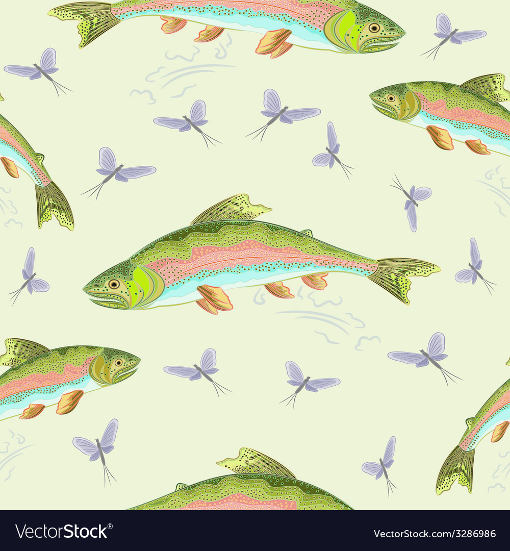 Seamless texture rainbow trout leaping vector | Price: 1 Credit (USD $1)