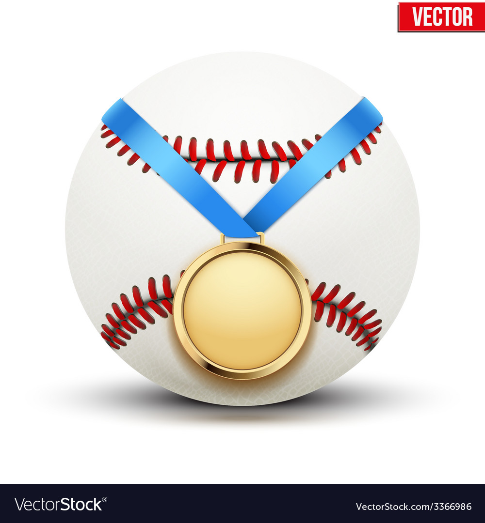 Sport gold medal with ribbon for winning baseball vector | Price: 1 Credit (USD $1)