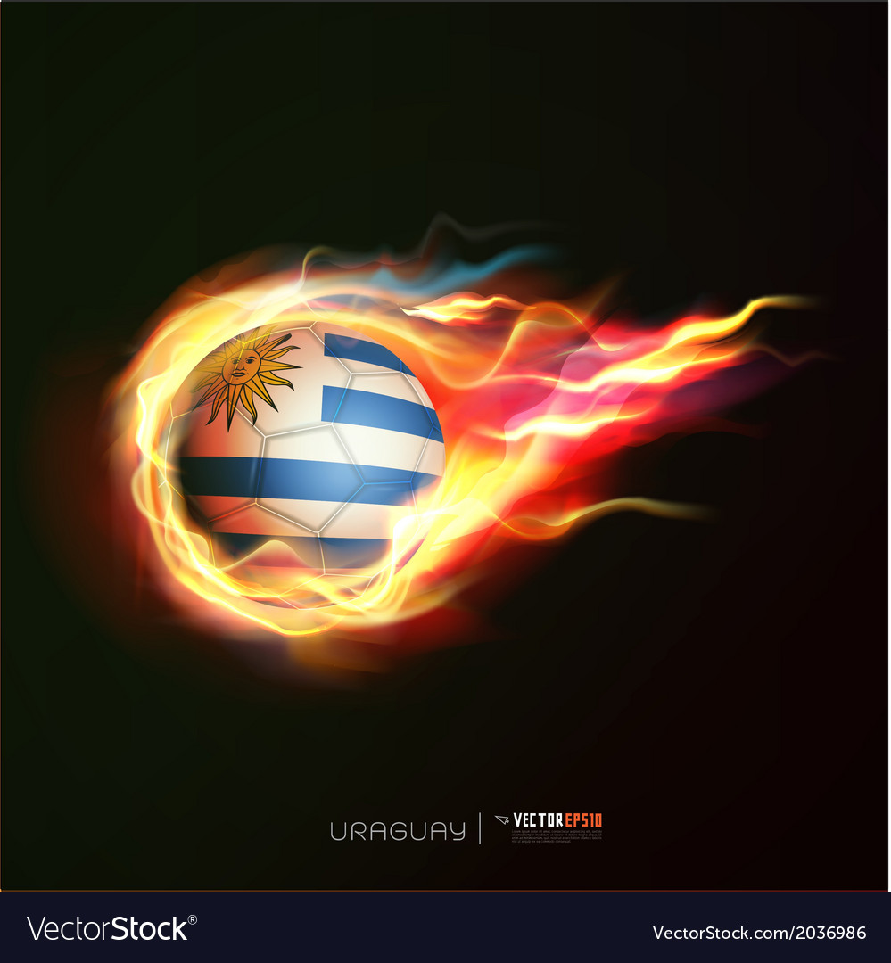 Uruguay flag with flying soccer ball on fire vector | Price: 1 Credit (USD $1)