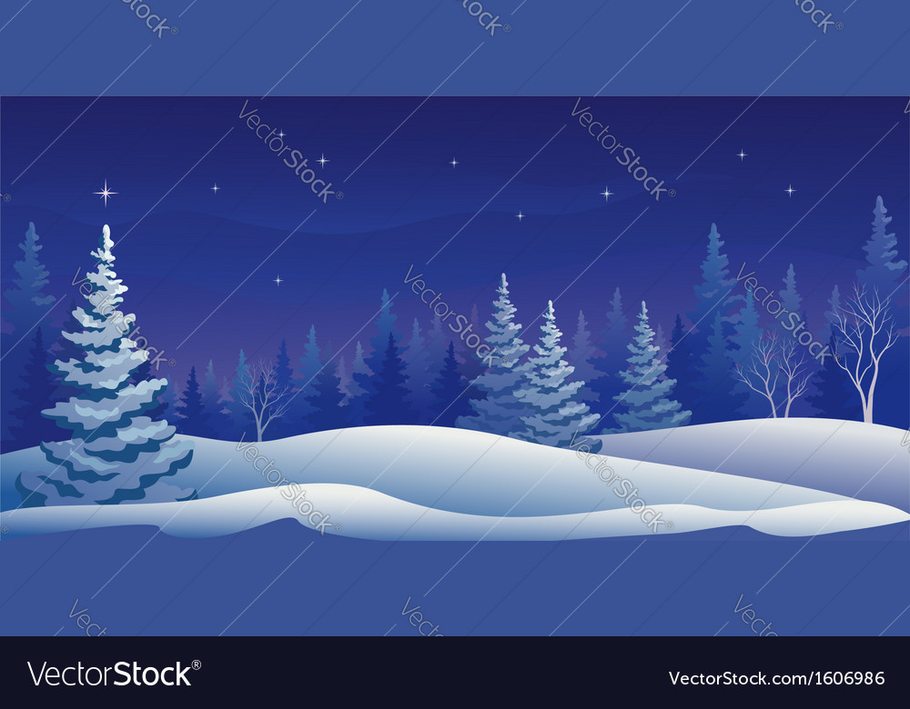 Winter night panoramic vector | Price: 1 Credit (USD $1)