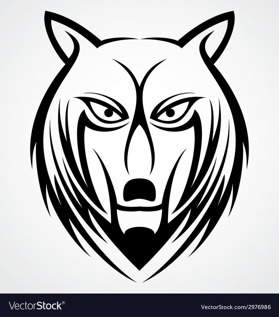 Wolf face tattoo design vector | Price: 1 Credit (USD $1)