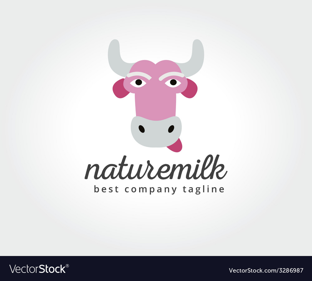 Abstract cartoon cow head logo icon concept vector | Price: 1 Credit (USD $1)