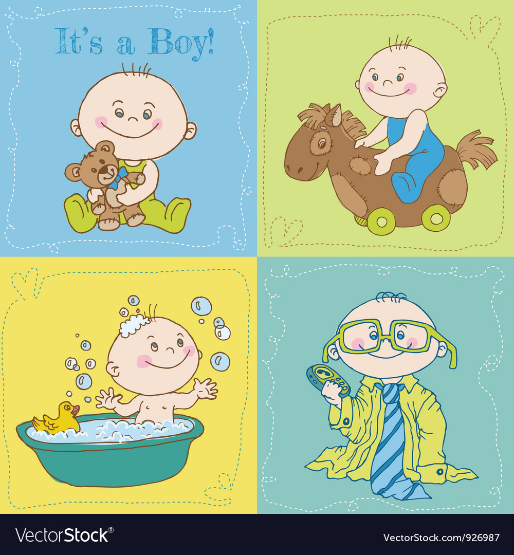 Baby boy arrival card or baby shower card vector | Price: 3 Credit (USD $3)