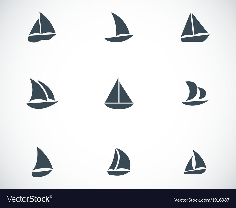 Black sailboat icons set vector | Price: 1 Credit (USD $1)