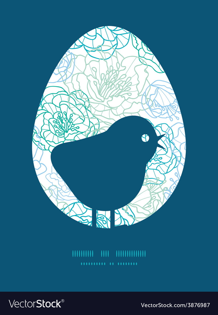 Blue line art flowers chicken silhouette vector | Price: 1 Credit (USD $1)