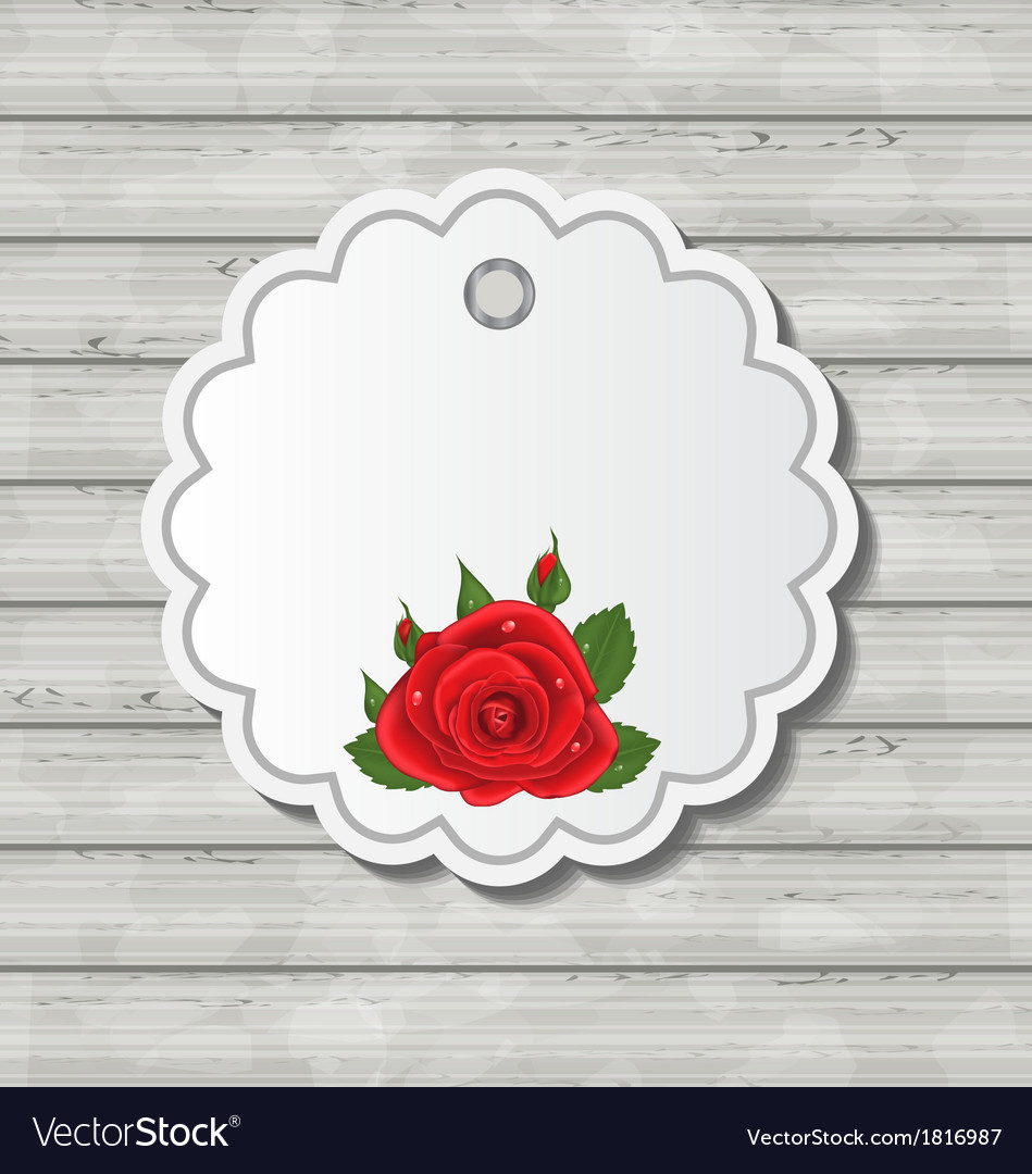 Card with red rose for valentine day on wooden vector | Price: 1 Credit (USD $1)