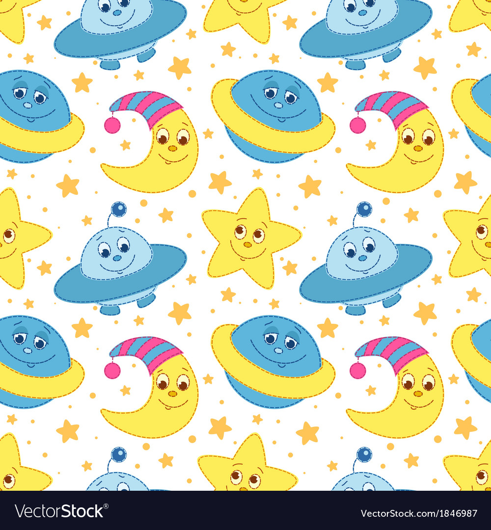 Children space pattern white vector | Price: 1 Credit (USD $1)