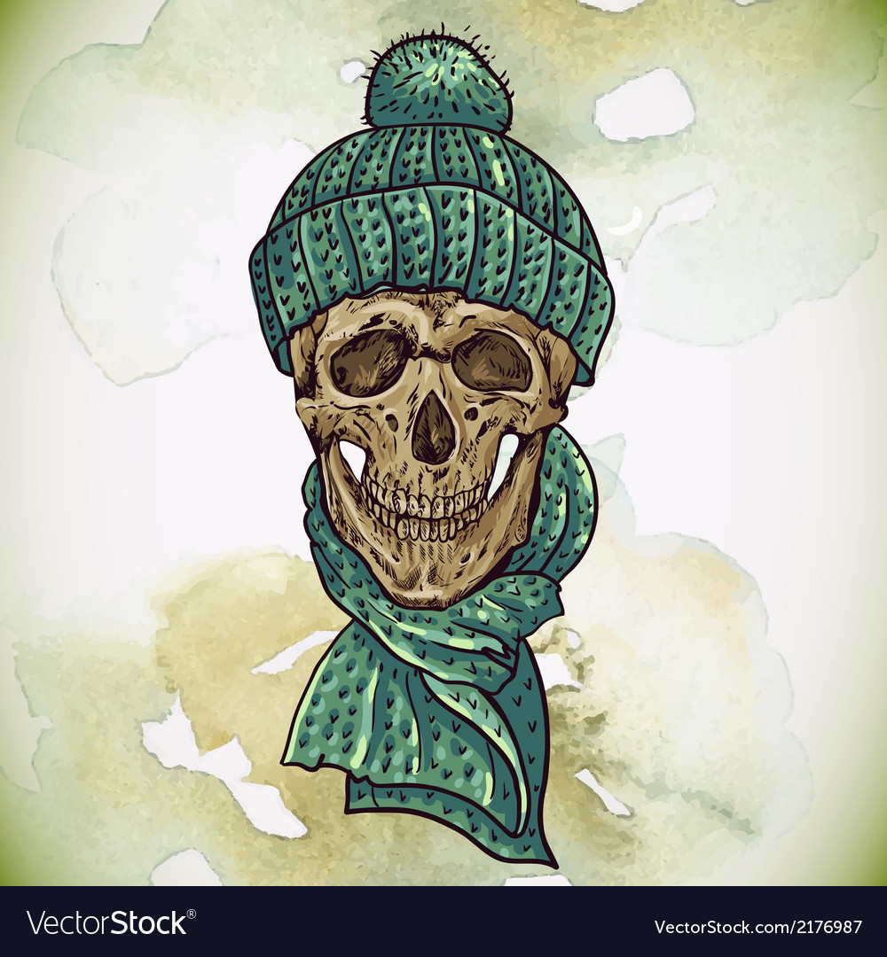 Christmas hipster skull winter vector | Price: 1 Credit (USD $1)