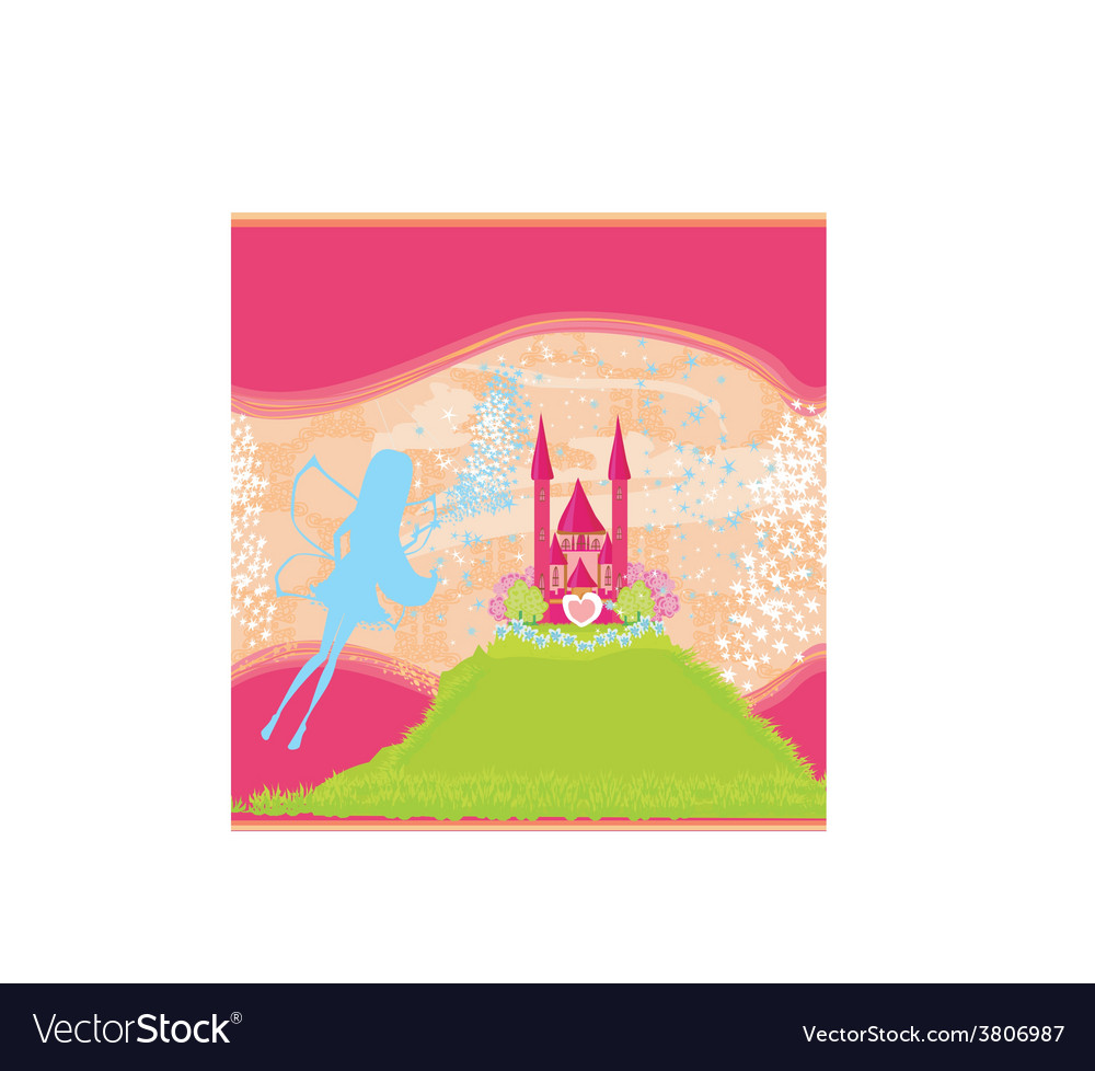 Fairy flying above castle vector | Price: 1 Credit (USD $1)