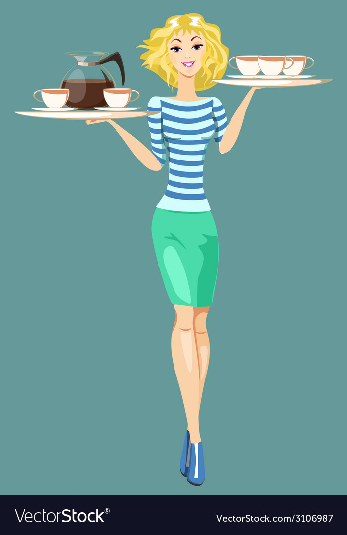 Girl waitress carrying a tray with cups of coffee vector | Price: 1 Credit (USD $1)