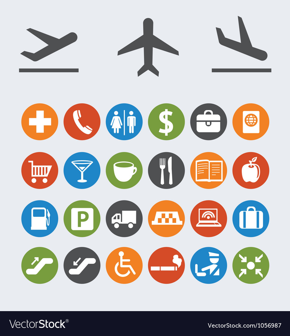 Icons and pointers for navigation in airport vector | Price: 1 Credit (USD $1)