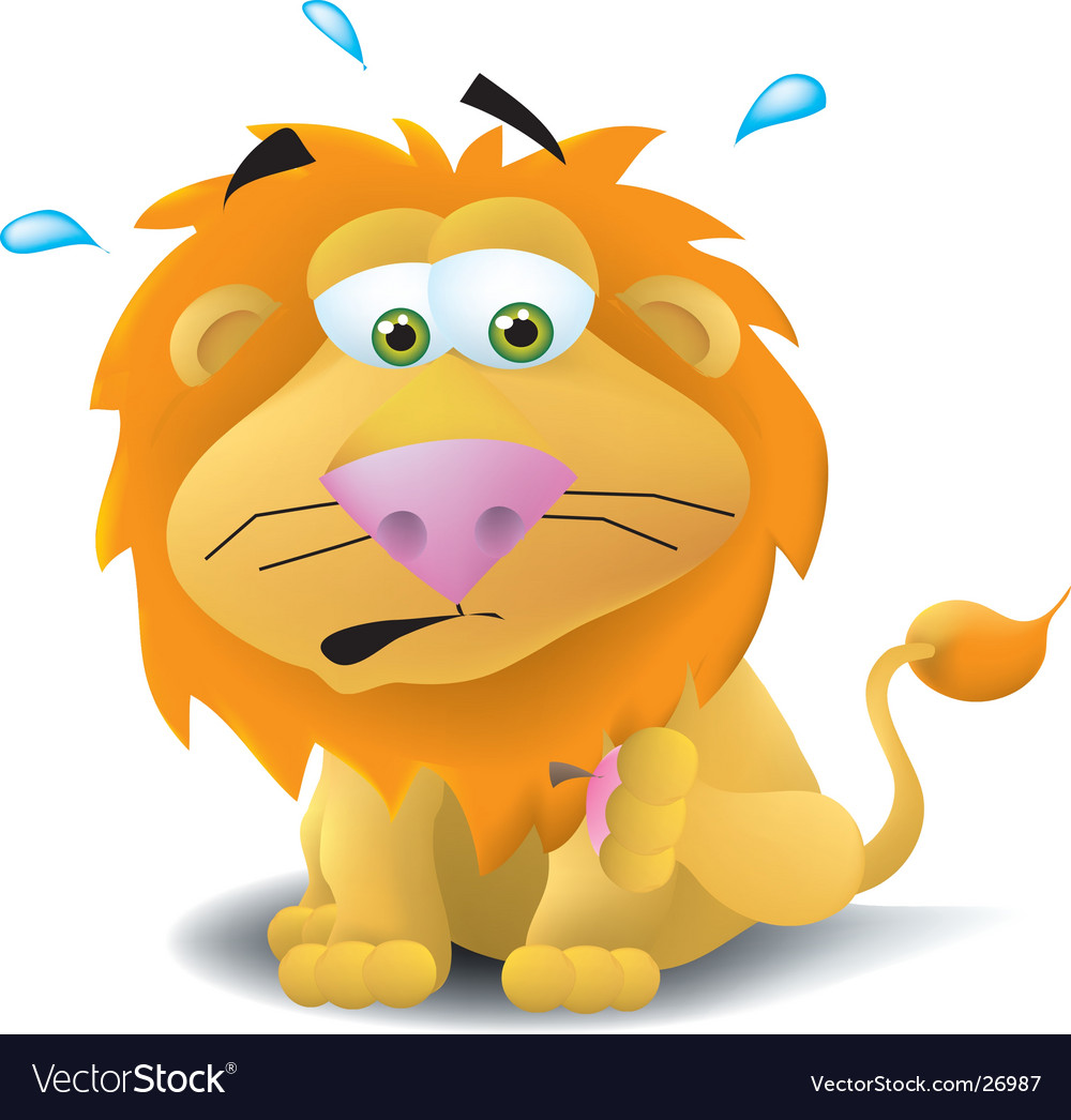 Lion with thorn in paw vector | Price:  Credit (USD $)