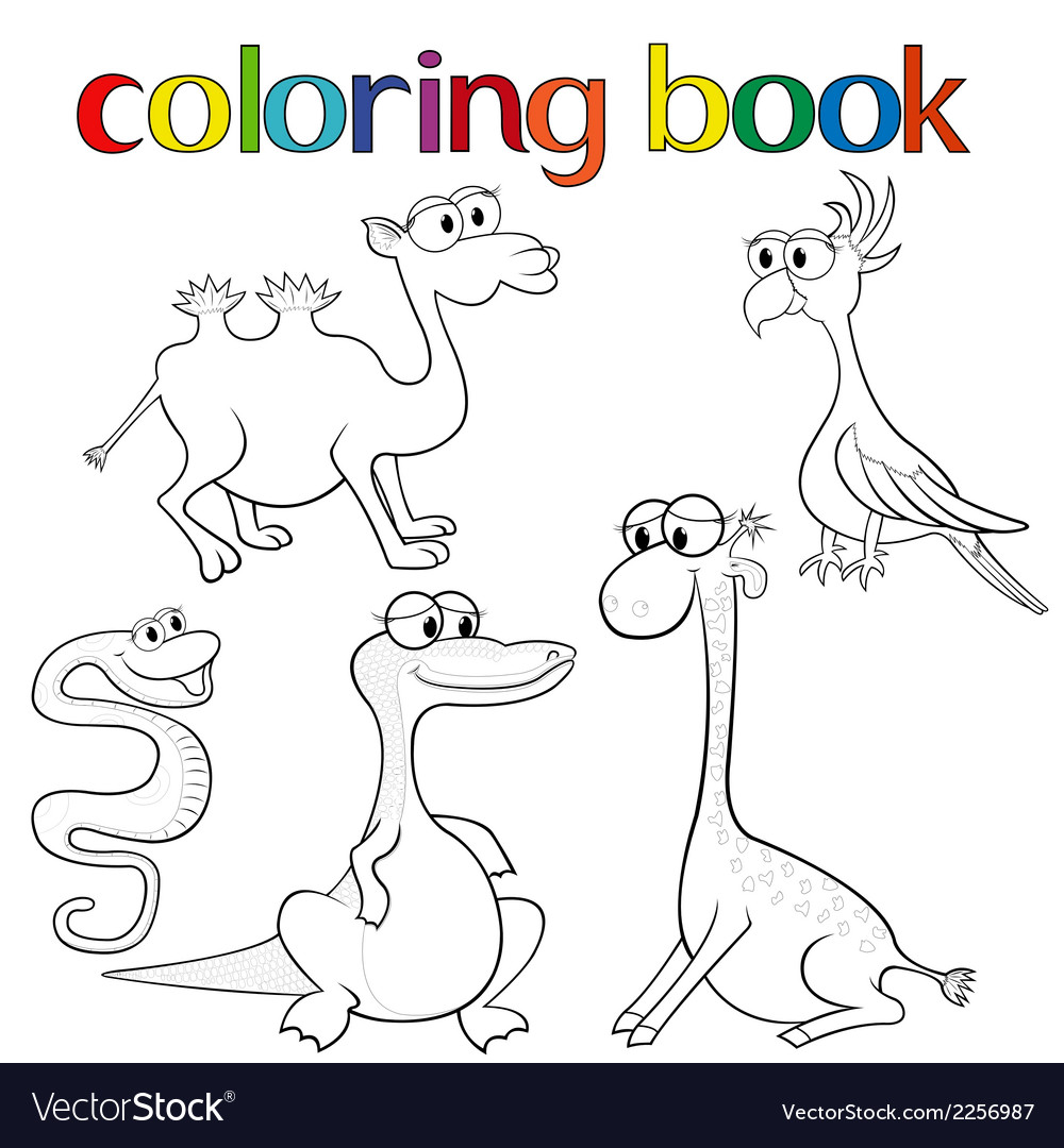 Set of animals for coloring book vector | Price: 1 Credit (USD $1)