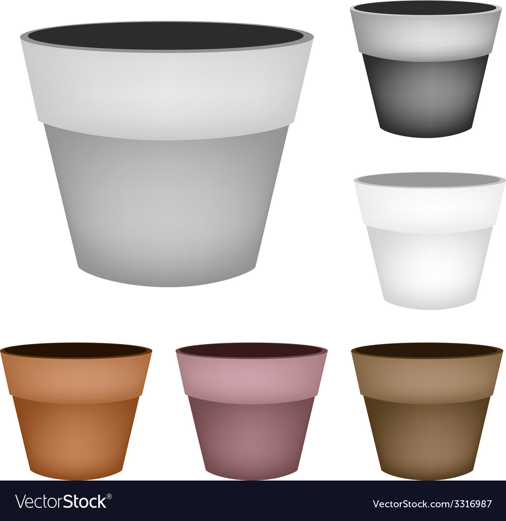 Set of terracotta flower pots on white background vector | Price: 1 Credit (USD $1)