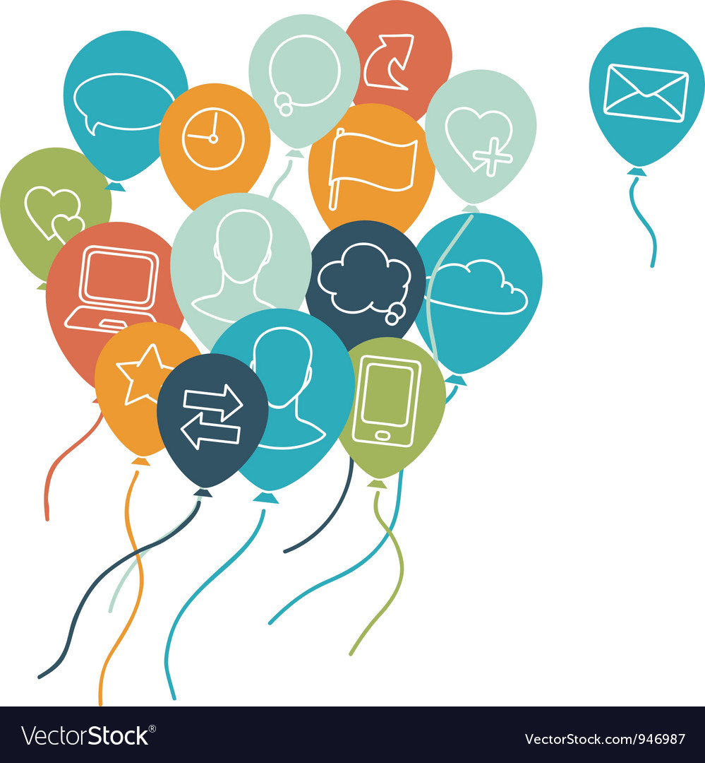 Social media balloons background vector | Price: 1 Credit (USD $1)