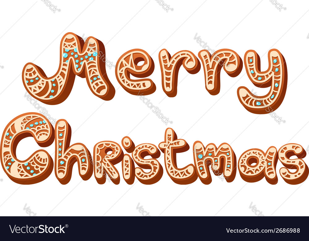 Christmas gingerbread text letters sign isolated vector | Price: 1 Credit (USD $1)