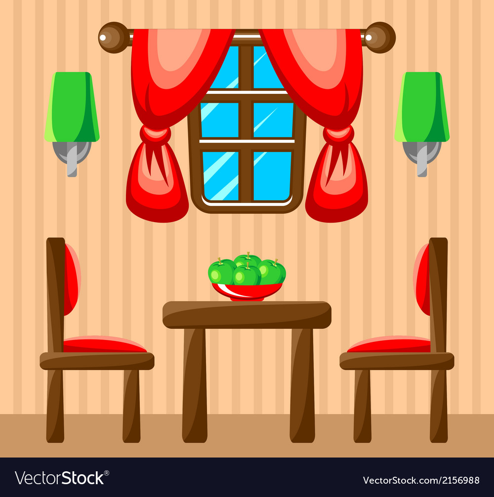Dining room interior vector | Price: 1 Credit (USD $1)