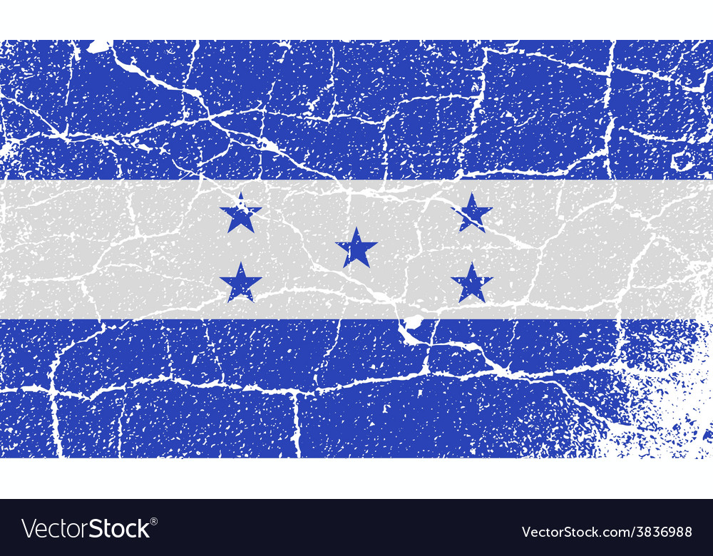 Flag of honduras with old texture vector | Price: 1 Credit (USD $1)