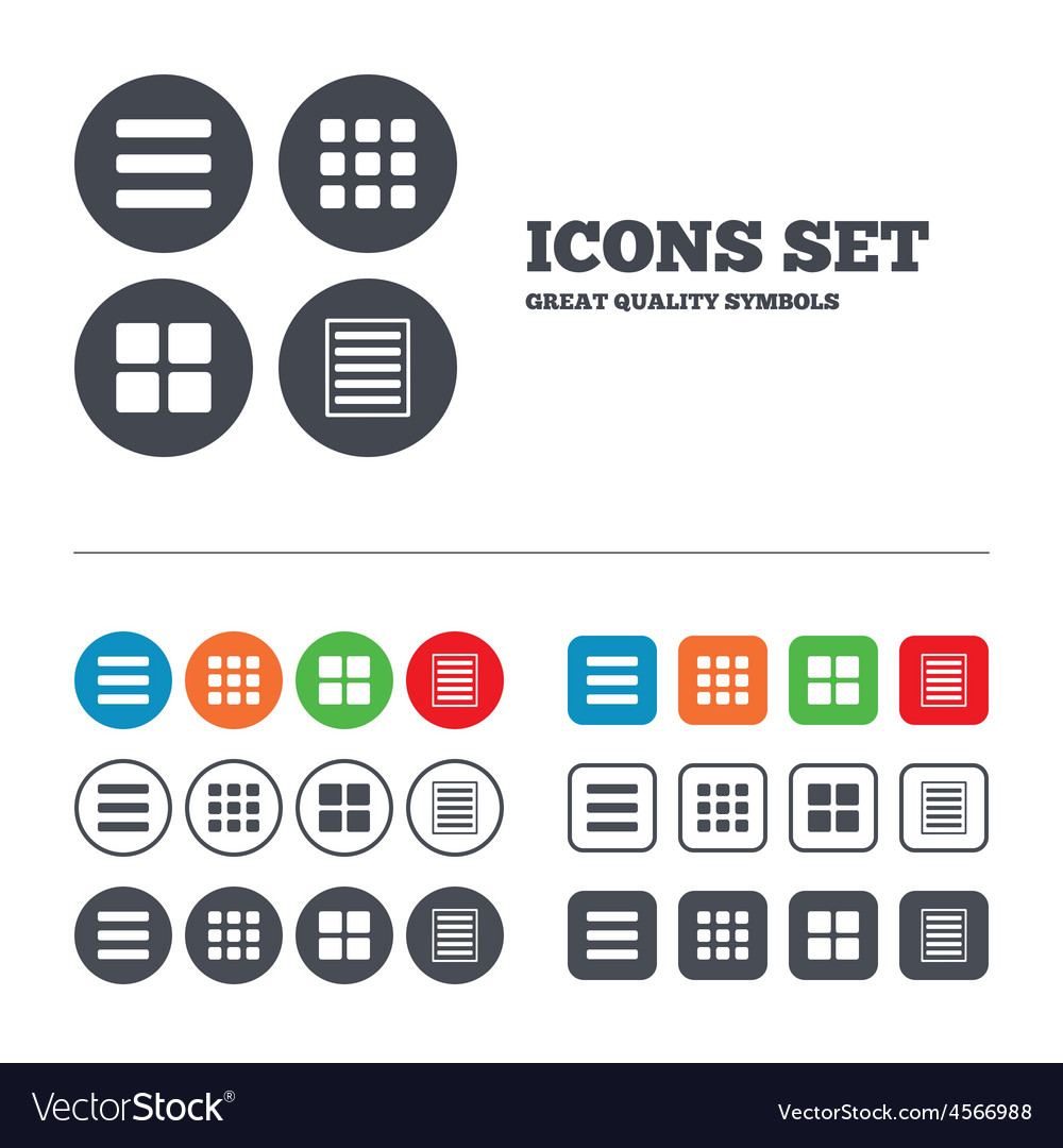 List menu icons content view options vector | Price: 1 Credit (USD $1)