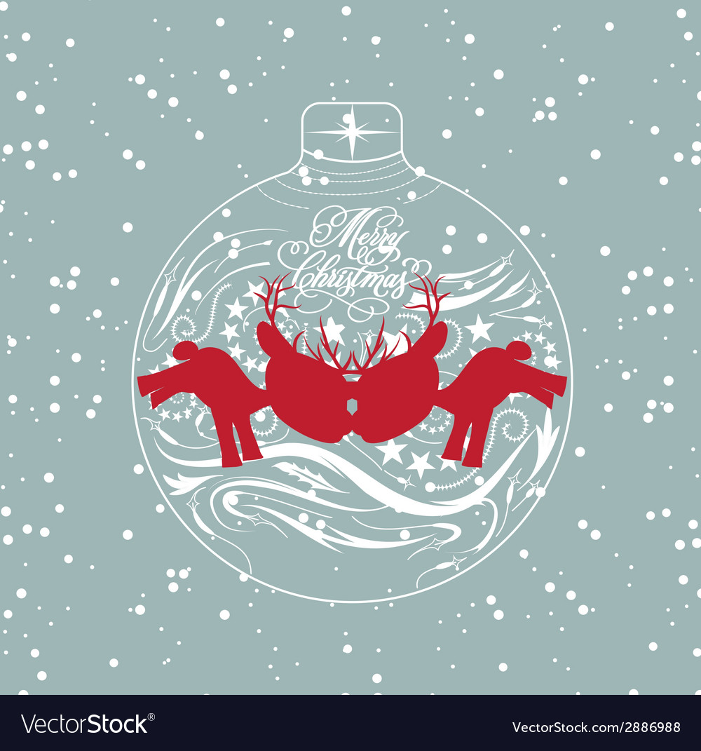 Merry christmas card with deer and ball vector   Price: 1 Credit (USD $1)