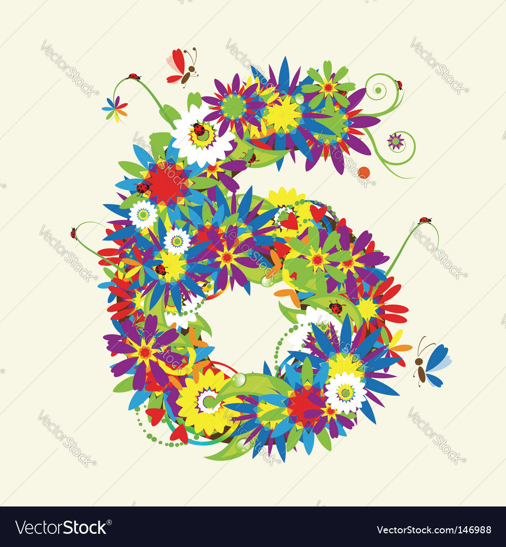 Number 6 floral design vector | Price: 1 Credit (USD $1)
