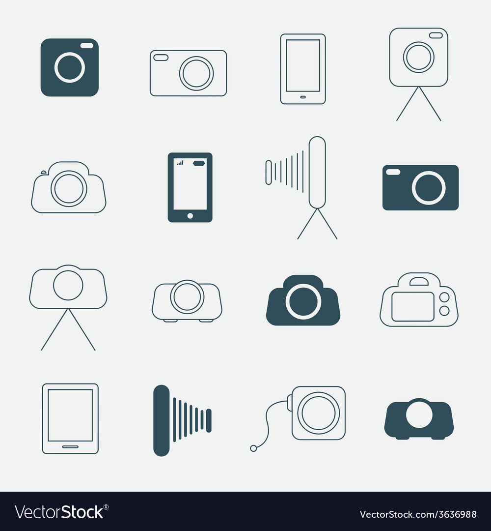 Photo camera simple icons set vector | Price: 1 Credit (USD $1)