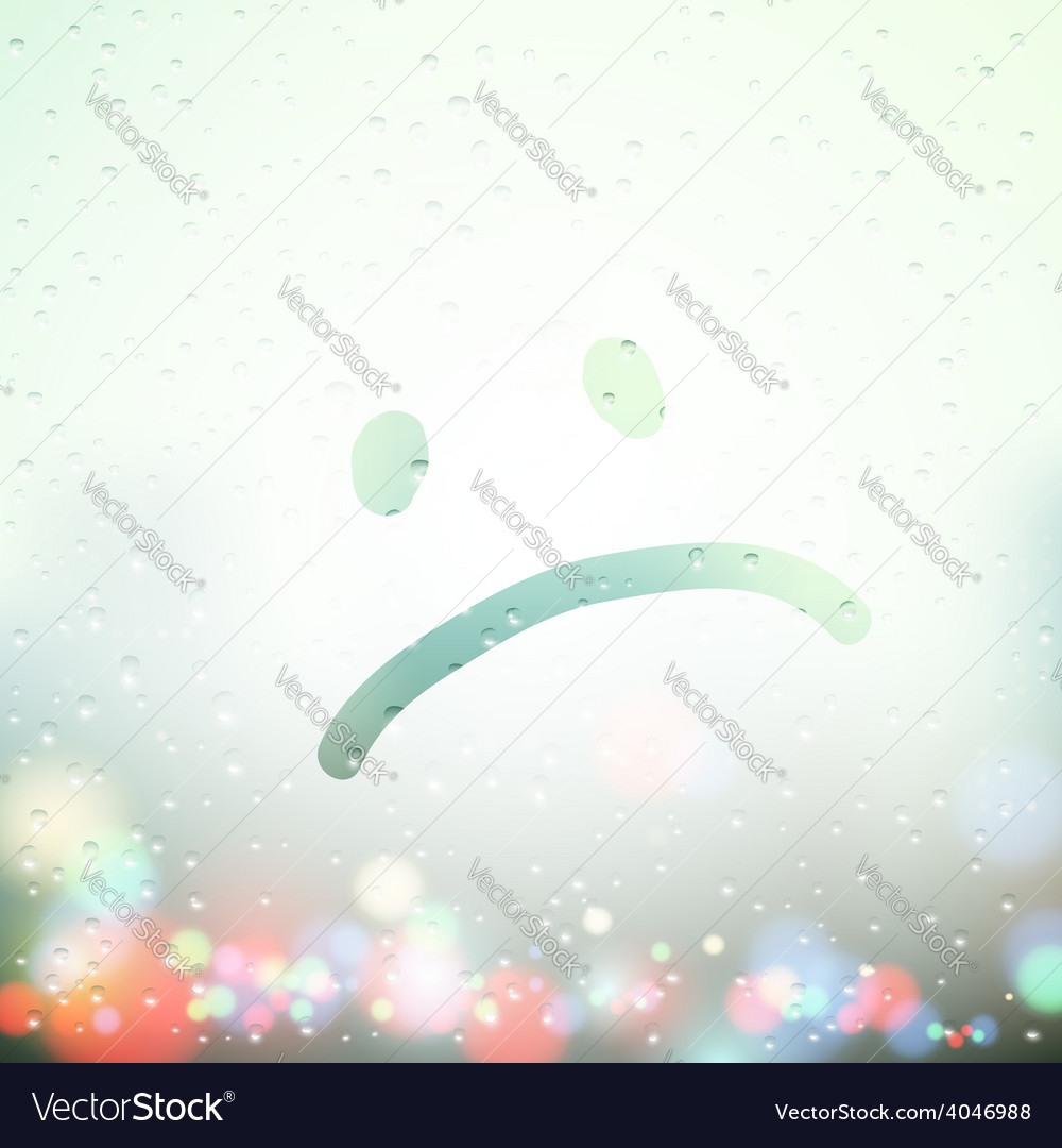 Sad face painted on sweaty window vector | Price: 1 Credit (USD $1)