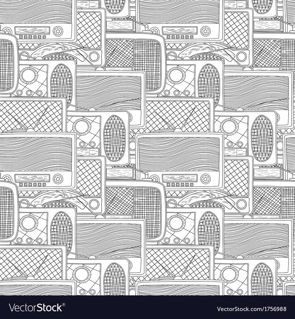 Seamless radio pattern vector | Price: 1 Credit (USD $1)