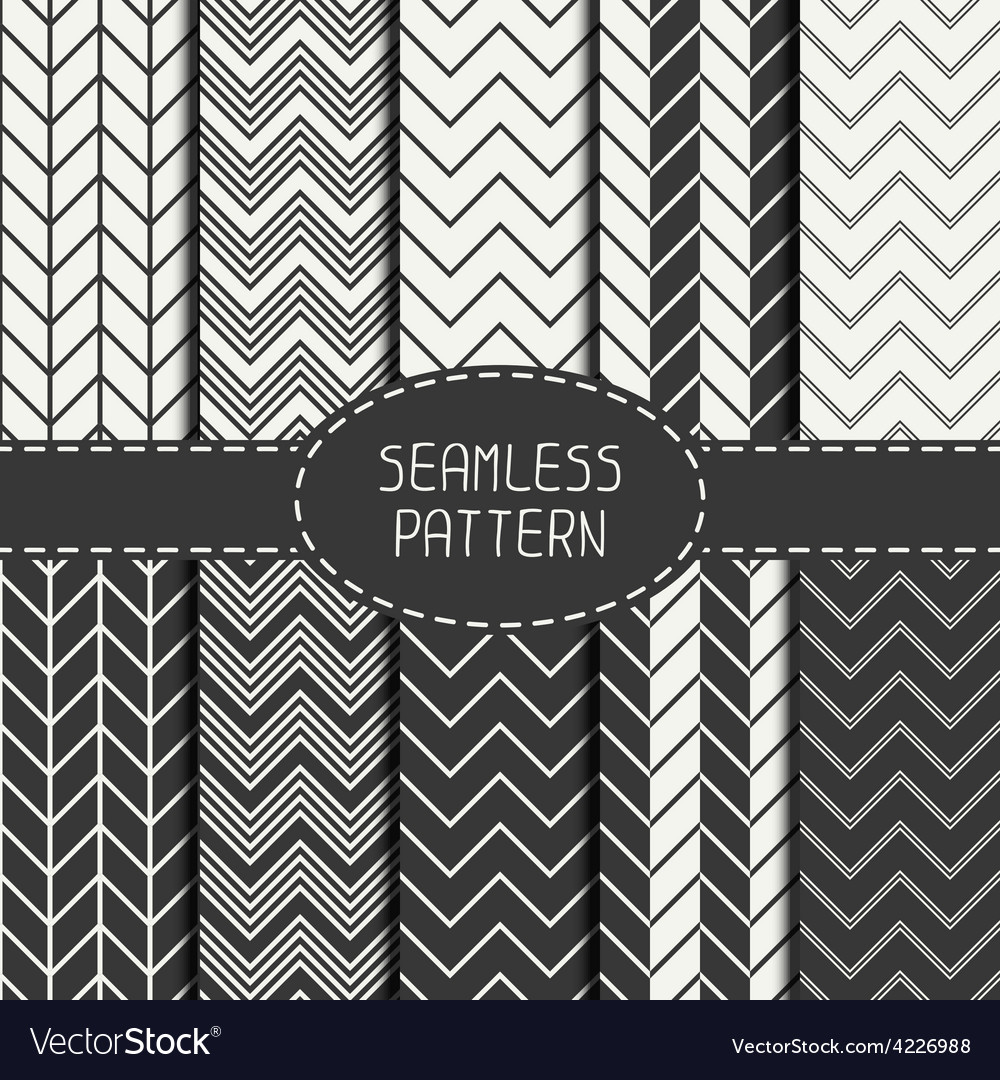 Set of monochrome fashion geometric seamless vector | Price: 1 Credit (USD $1)