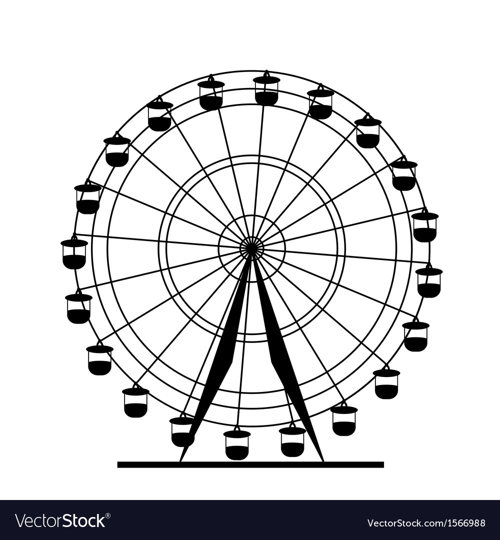 Silhouette attraction colorful ferris wheel vector | Price: 1 Credit (USD $1)
