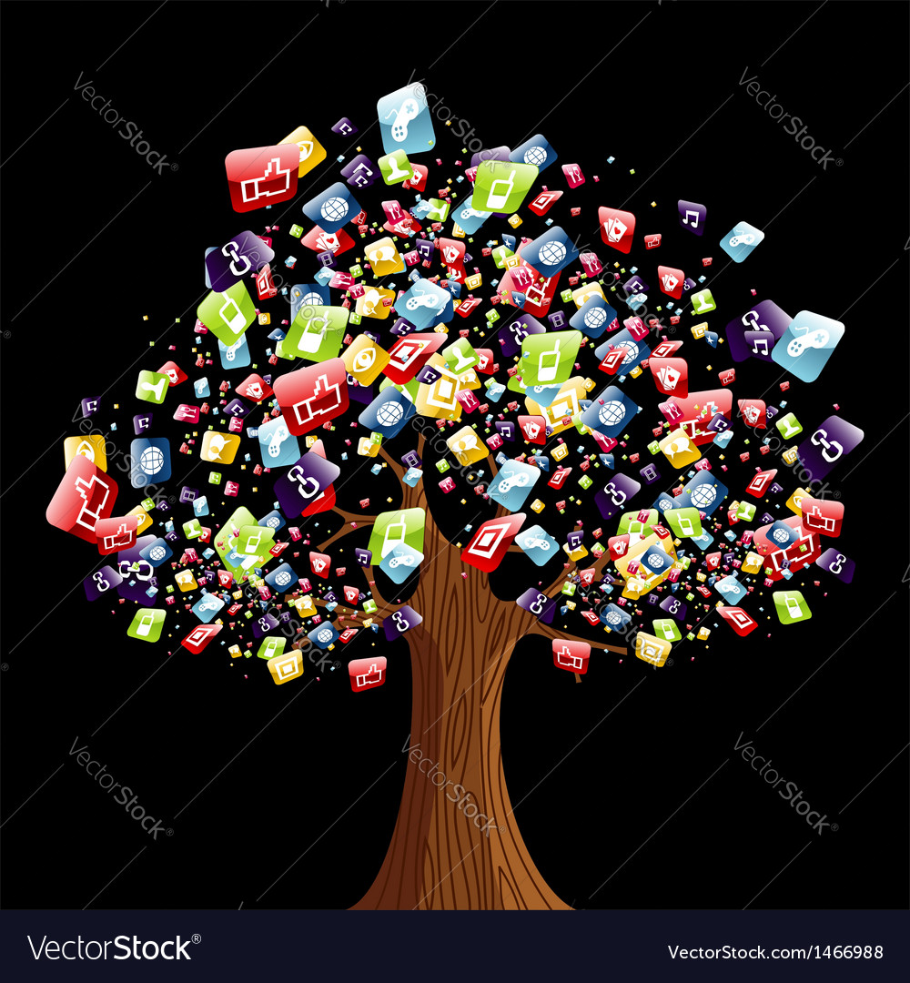 Smart phone application tree vector | Price: 1 Credit (USD $1)