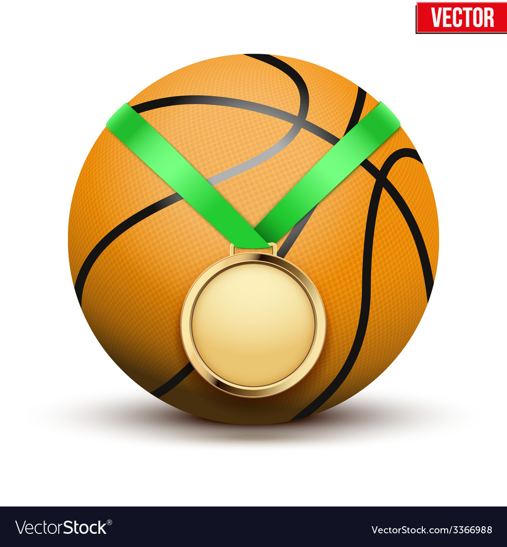 Sport gold medal with ribbon for winning vector | Price: 1 Credit (USD $1)