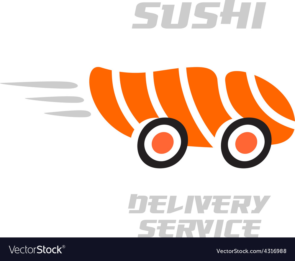 Sushi delivery service logo template vector | Price: 1 Credit (USD $1)