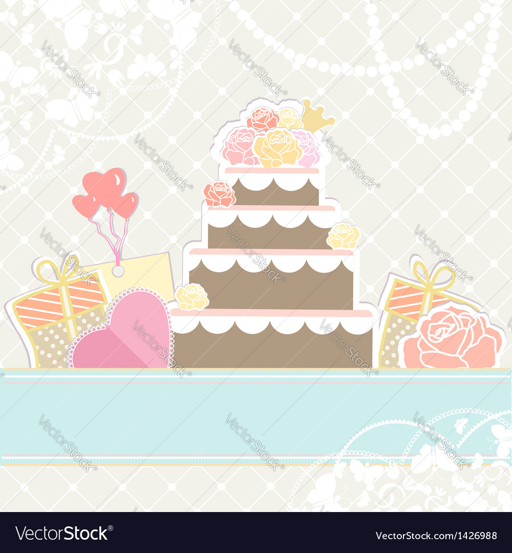 Wedding or birthday cake with gifts vector | Price: 3 Credit (USD $3)