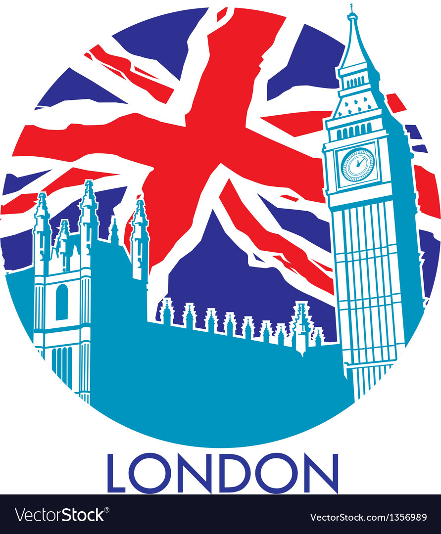 London big ben with union jack flag background vector | Price: 1 Credit (USD $1)