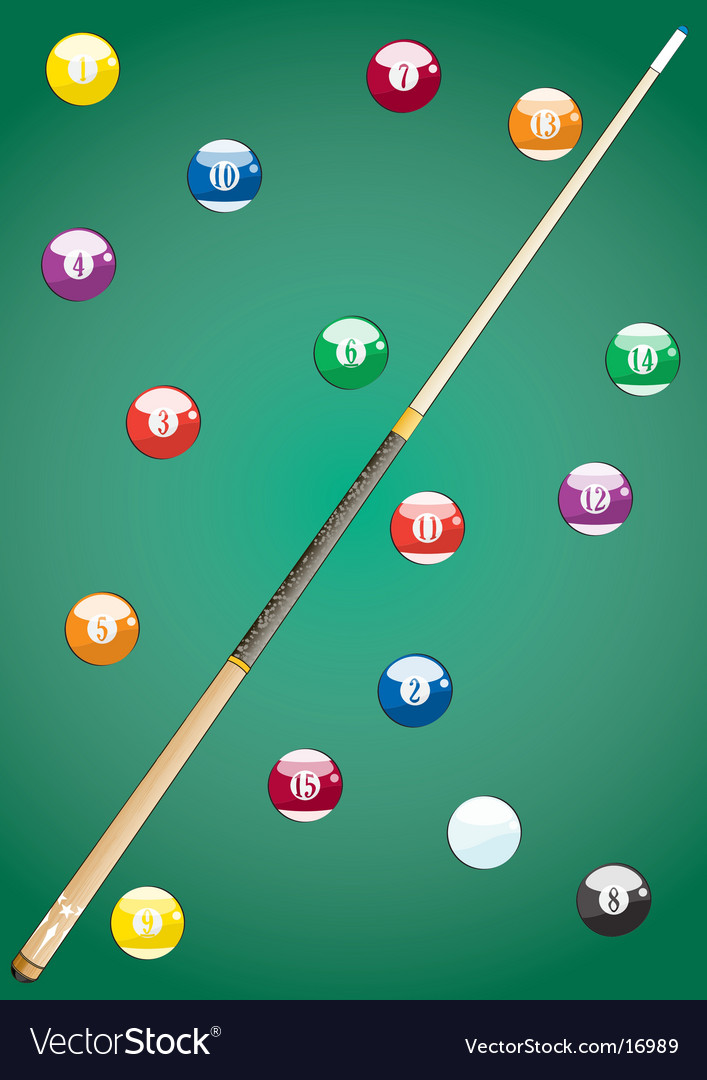 Pool balls and cue vector | Price: 1 Credit (USD $1)