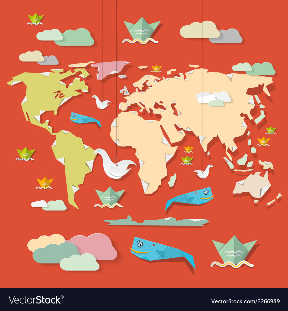 Retro paper world map on red background vector | Price: 1 Credit (USD $1)