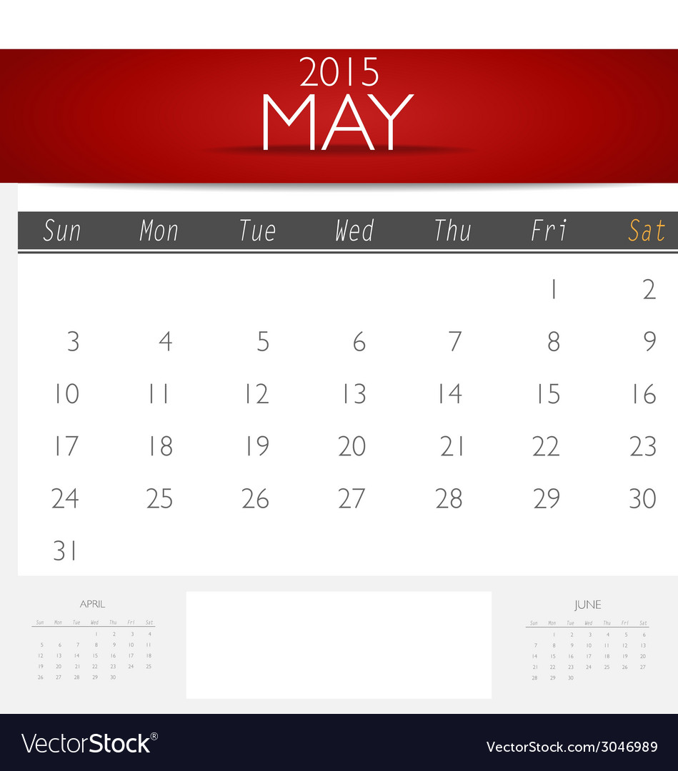 Simple 2015 calendar may vector | Price: 1 Credit (USD $1)