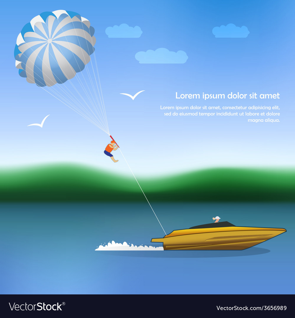 Summer parachuting over river with boat vector | Price: 1 Credit (USD $1)