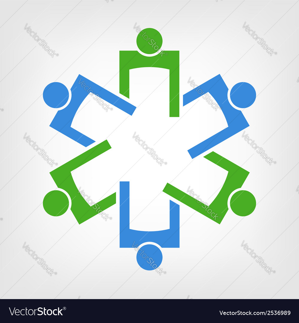 Team of persons forming the medical symbol vector | Price: 1 Credit (USD $1)