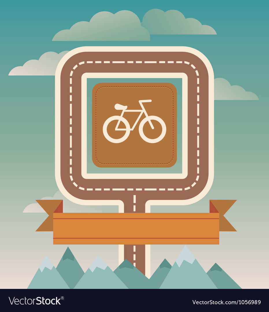 Template with cicycle and road vector | Price: 1 Credit (USD $1)
