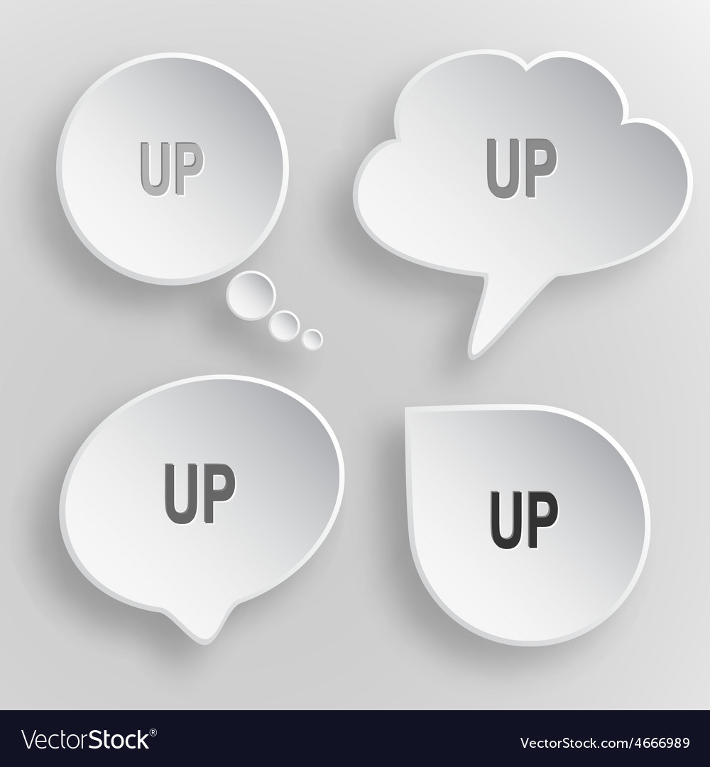 Up white flat buttons on gray background vector | Price: 1 Credit (USD $1)