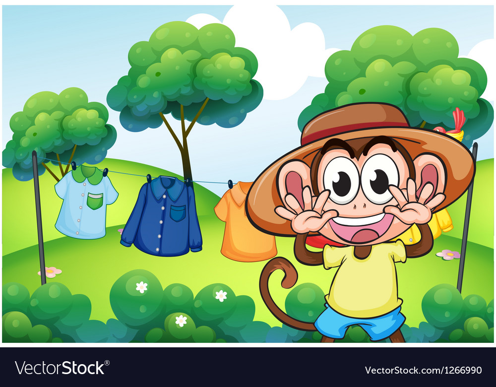 A monkey in front of the hanging clothes at the vector | Price: 1 Credit (USD $1)