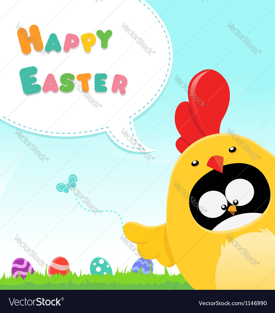 Chicken costumed penguin easter message vector | Price: 1 Credit (USD $1)