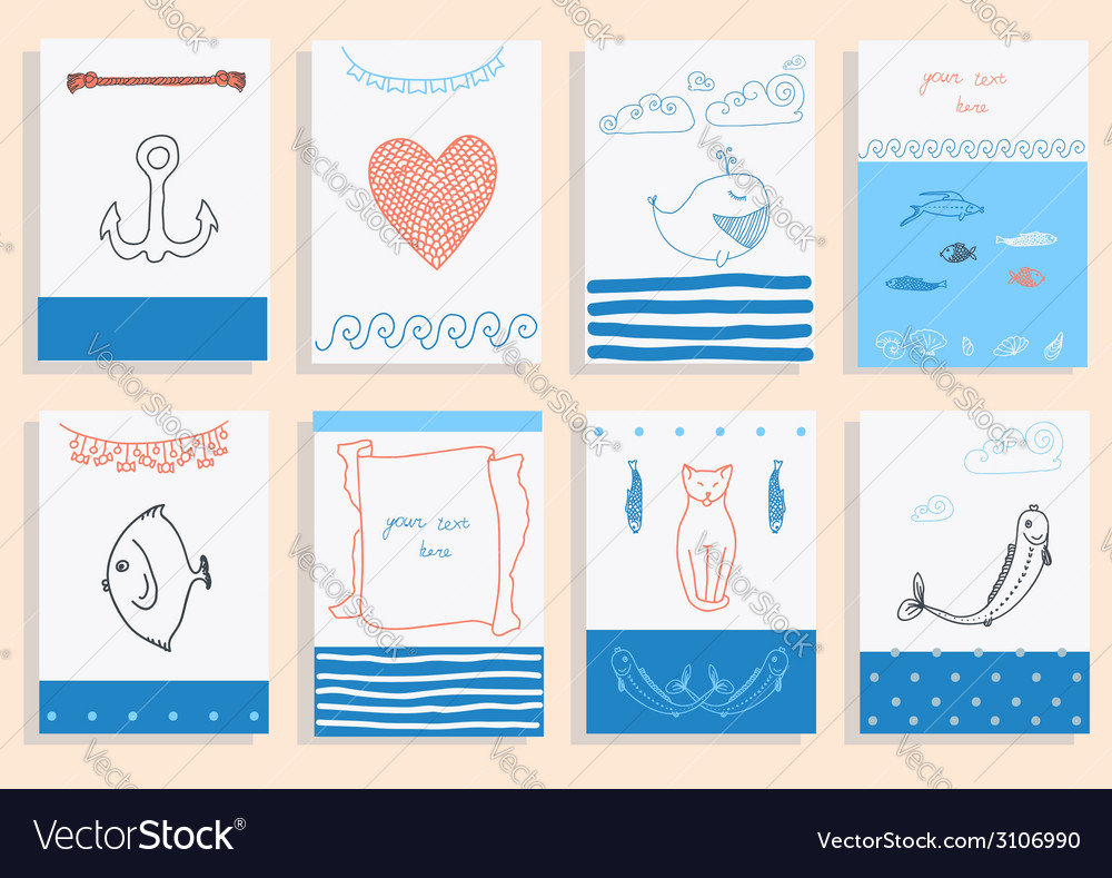 Greeting card set cute sea objects collection vector | Price: 1 Credit (USD $1)