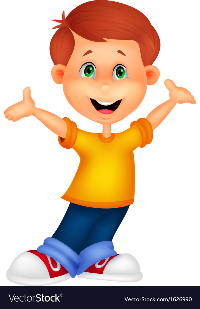 Happy boy cartoon posing vector | Price: 1 Credit (USD $1)