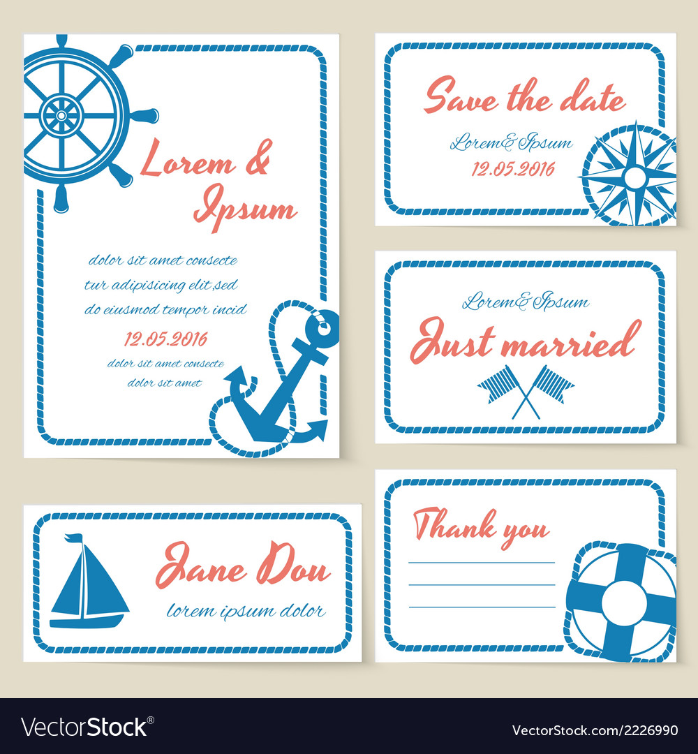 Nautical style wedding invitation and cards vector | Price: 1 Credit (USD $1)