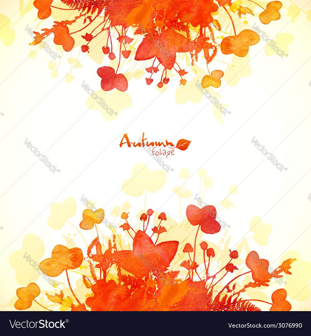 Orange autumn leaves watercolor painted background vector | Price: 1 Credit (USD $1)