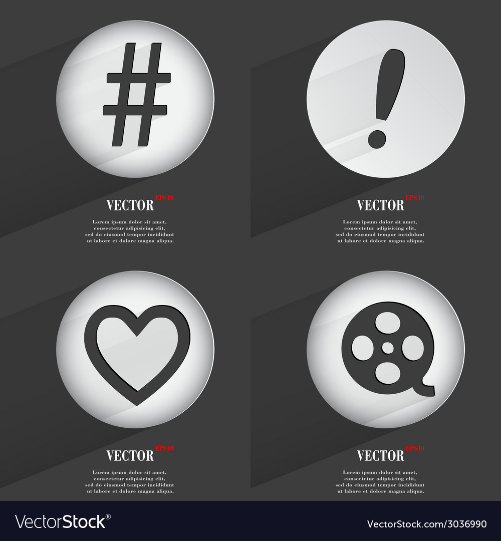 Set of 4 flat buttons icons with shadows on vector | Price: 1 Credit (USD $1)